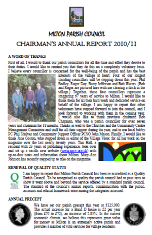 ANNUAL CHAIRMAN\'S REPORT MAY11