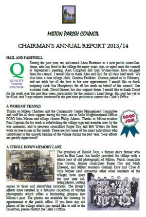 ANNUAL CHAIRMAN\'S REPORT April14