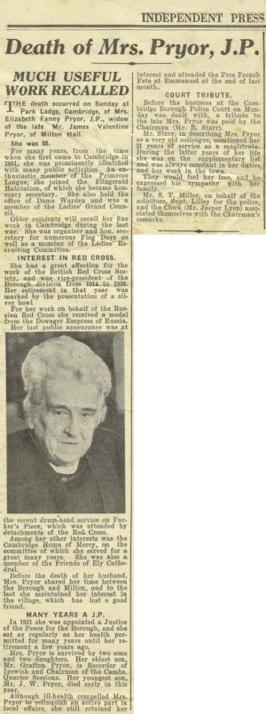 Mrs EF Pryor's Obituary